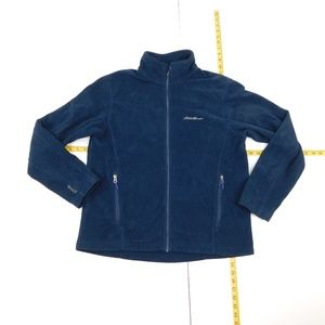 Eddie Bauer L Navy Blue Full Zip Fleece Jacket  D-